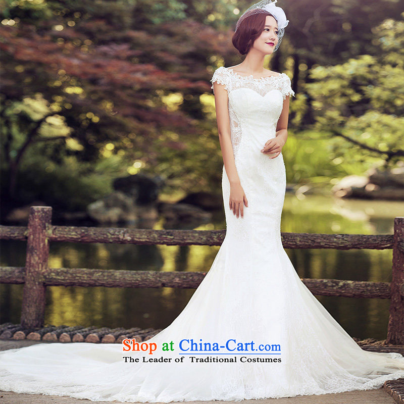 A Bride wedding dresses 2015 Summer lace crowsfoot wedding shawl long tail 2602 White聽L