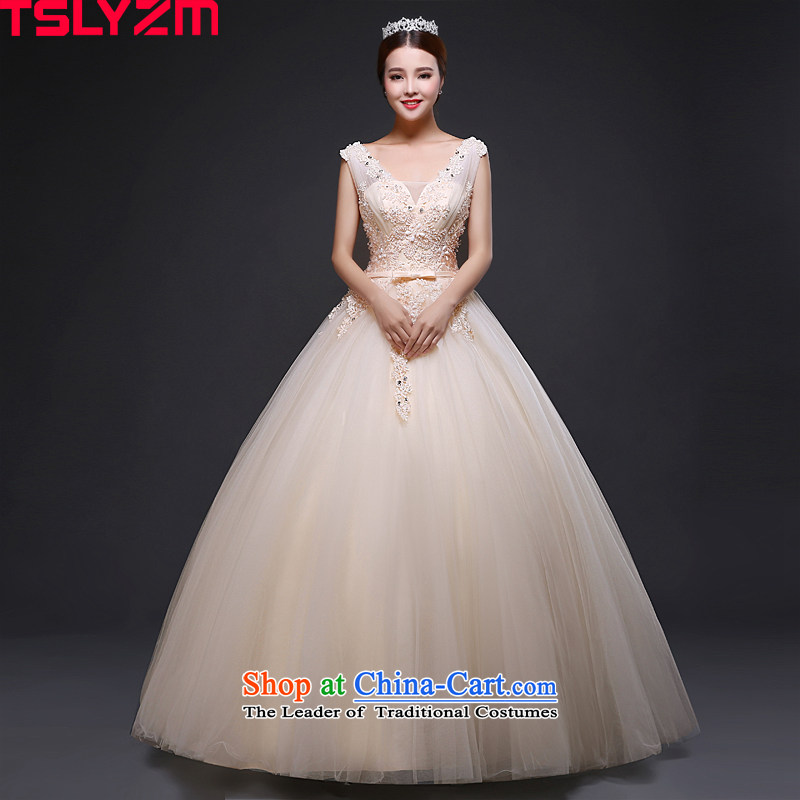 Tslyzm2015 autumn and winter shoulders wedding dresses align with the new to bind marriages V-Neck lace bow tie video thin Diamond light champagne color?M