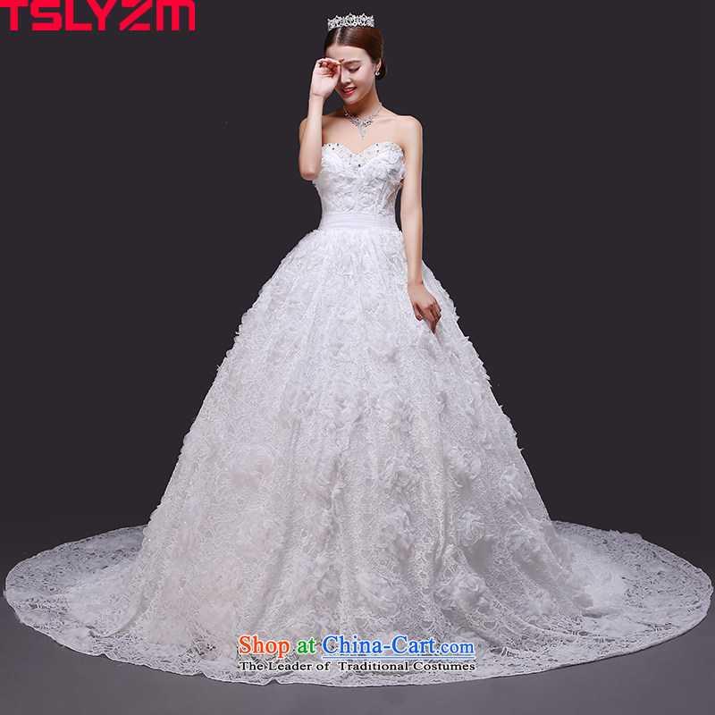 The new tissue chest tslyzm2015 tail wedding autumn and winter bride Diamond Flower Fairies  lace flowers wedding dress skirt and white tail,�XXL