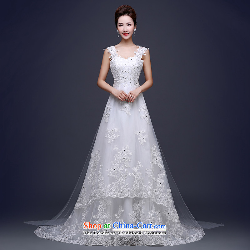 Jie mija white shoulders sleeveless wedding dress tail 2015 new summer lace Korean continental tail bride wedding White?XL