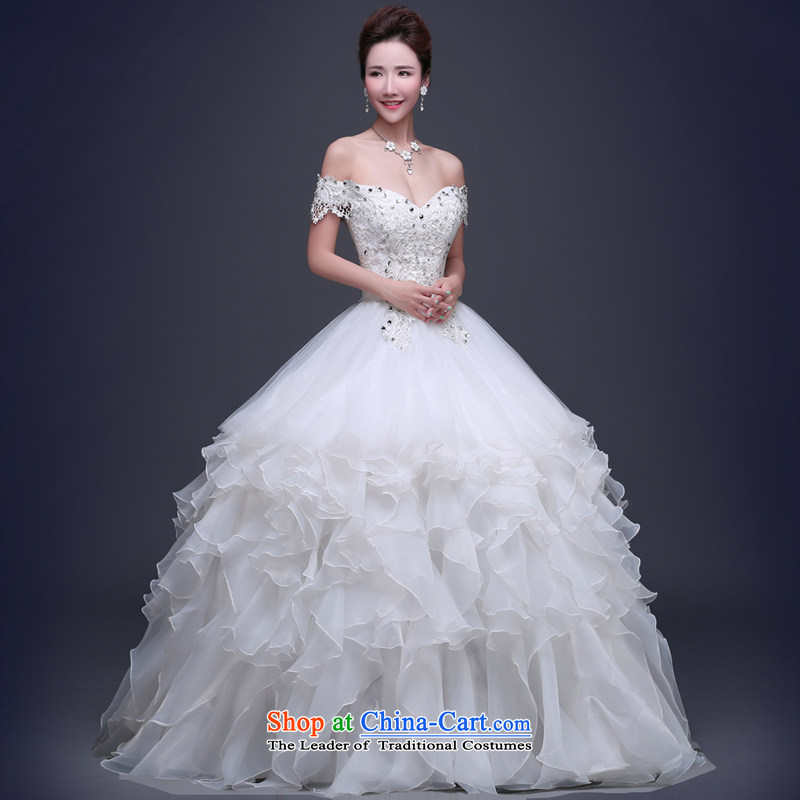 Jie mija wedding dresses , 2015 new field to align the shoulder bon bon skirt wedding shoulders large Sau San bride wedding white L