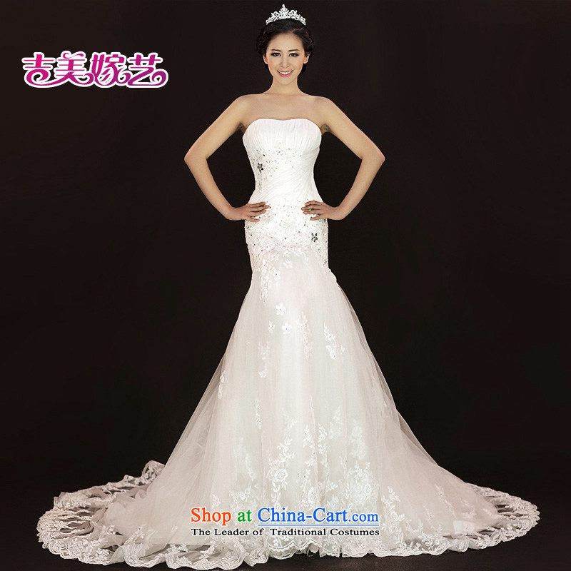 Wedding dress Kyrgyz-american married new anointed arts 2015 Chest Korean lace crowsfoot tail HT936 bride wedding white?L