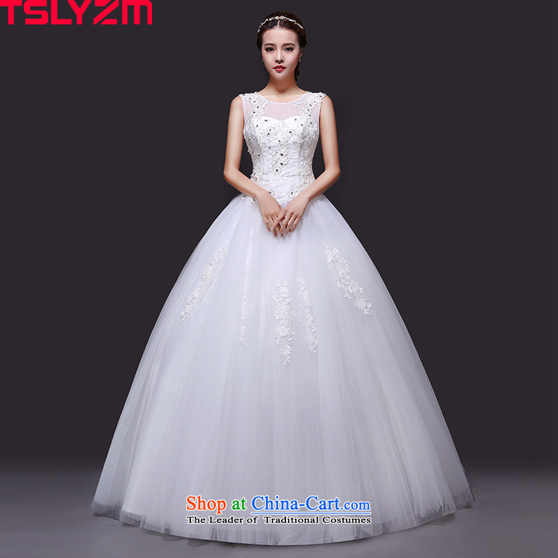 Tslyzm marriages to align the white wedding princess bon bon skirt 2015 new autumn and winter round-neck collar shoulders wedding dress out lace white yarn S