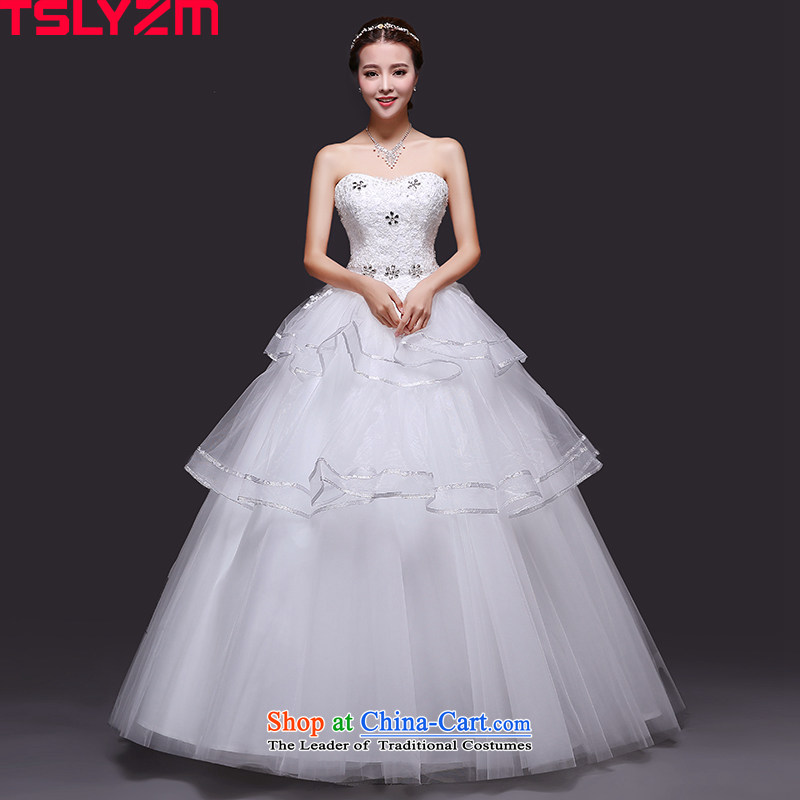The Bride With chest tslyzm wedding dresses in autumn and winter 2015 new diamond lace white bon bon skirt New White?M