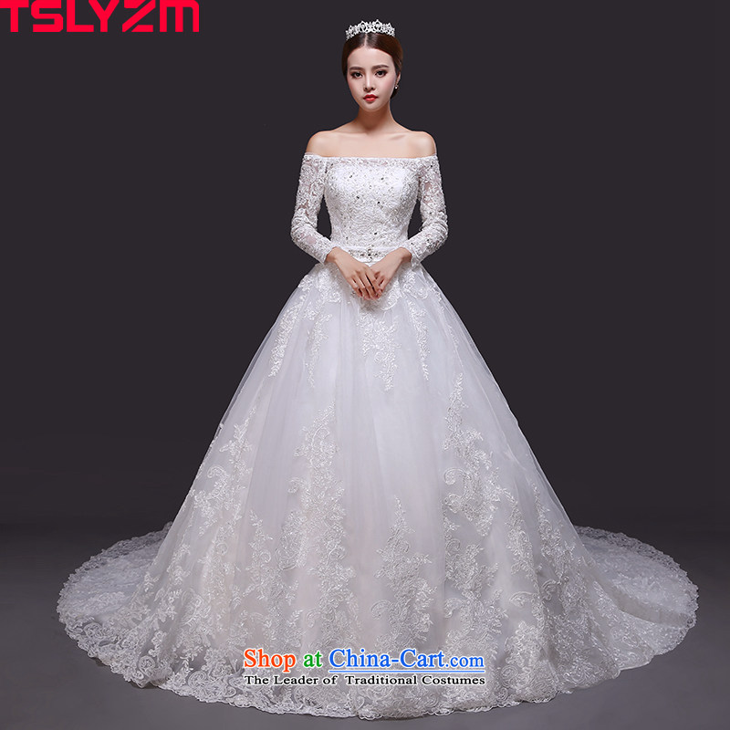 The word tslyzm shoulder wedding dress large tail 2015 new marriages of autumn and winter long-sleeved lace Korean version thin wedding dress and bon bon tail_?S