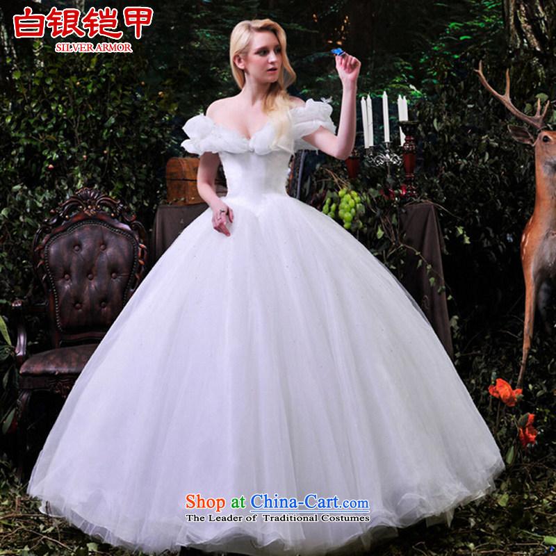 Silver armor wedding dresses 2015 new Cinderella with a field shoulder wedding tail continental photo building, white?165-XL