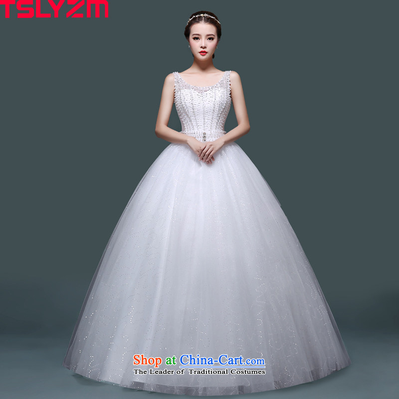 Tslyzm bride Wedding 2015 new fluoroscopy shoulders to align the wedding dresses Korean version thin Foutune of Princess Pearl White bon bon skirt autumn and winter white?S