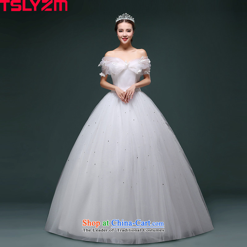 To align the tslyzm wedding word shoulder bubble cuff 2015 autumn and winter new Cinderella butterfly larger Foutune of thin film on the bride video wedding dress White�XXL