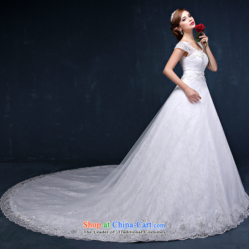 In spring and summer 2015 new Korean lace shoulder larger video thin marriages long tail straps wedding white?XXL_ waist 2.4_