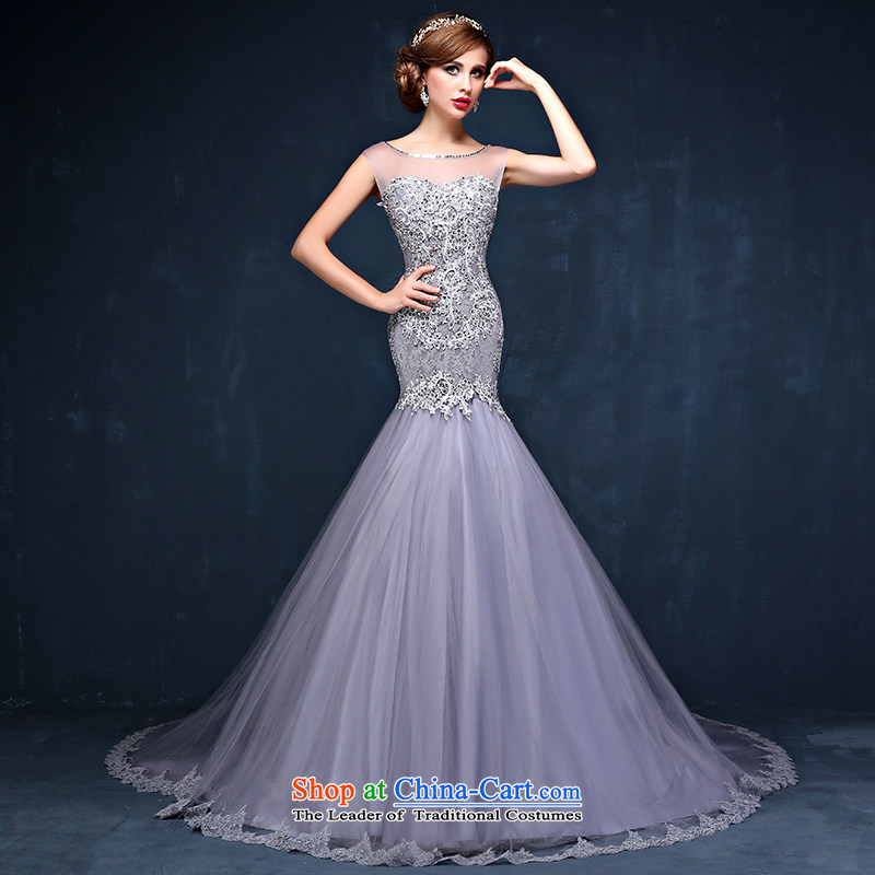 New spring and summer new Korean lace shoulder larger video thin marriages Sau San long tail wedding dress gray?PUERTORRICANS waist 2.0_