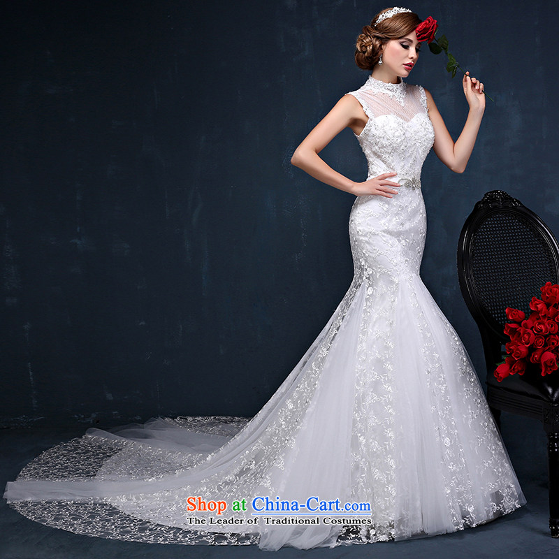 The first field shoulder tail crowsfoot wedding dresses Summer 2015 Korean brides hang also lace large tie back wedding white XL( waist 2.3)
