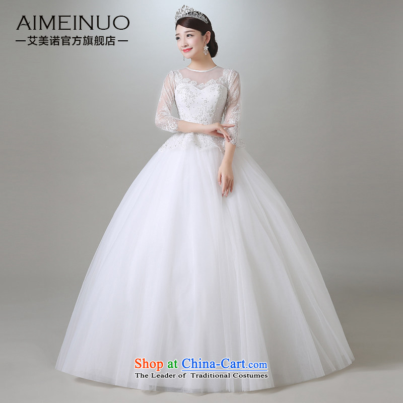 Hiv Miele wedding in summer and autumn 2015 new marriages and elegant reminiscent of gossamer round-neck collar lace in long-sleeved wedding�A15CH100 Sau San��XL (white�waist two feet II�)