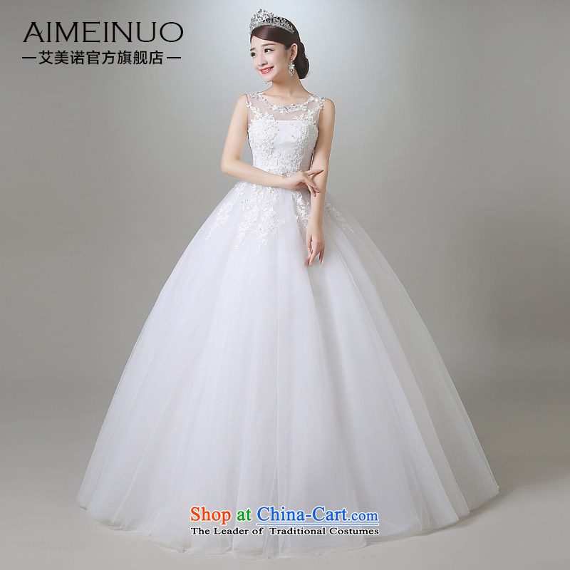 Hiv Miele wedding in summer and autumn 2015 new Korean sweet Tulle lace round-neck collar shoulders wedding irrepressible princess yarn?A15CH101 Sau San?white?L (?waist two feet in a?)