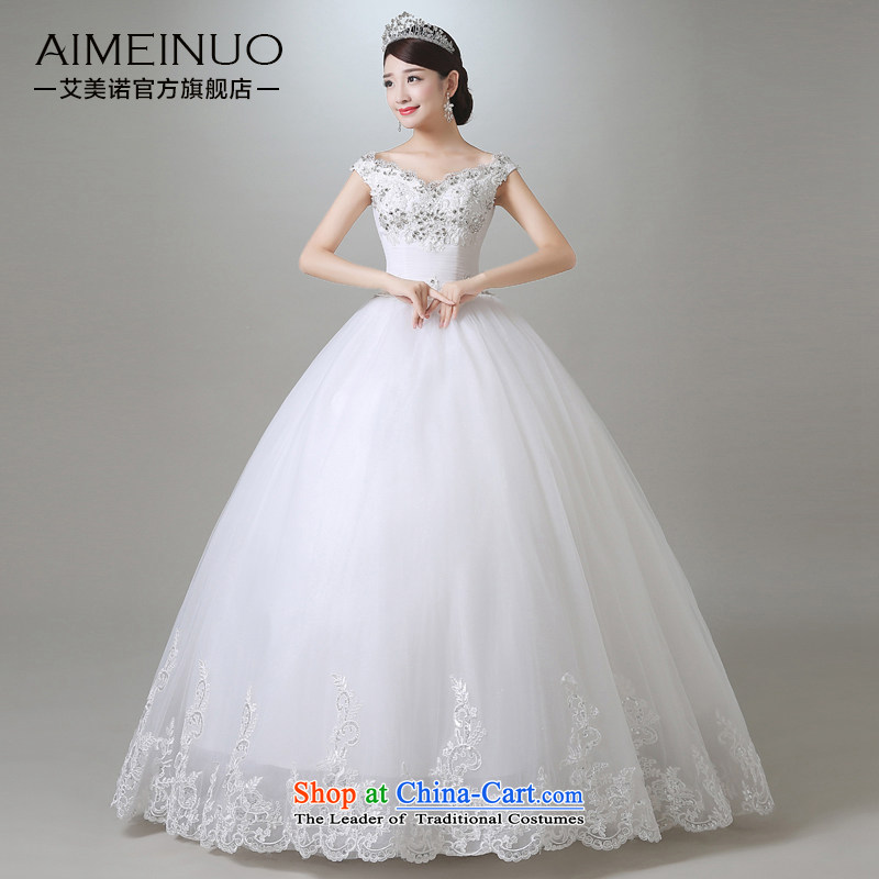 Hiv Miele wedding in summer and autumn 2015 new luxury diamond V-neck a field shoulder wedding marriages Korean Princess yarn?A15CH103?White?M (?FT?), two waist
