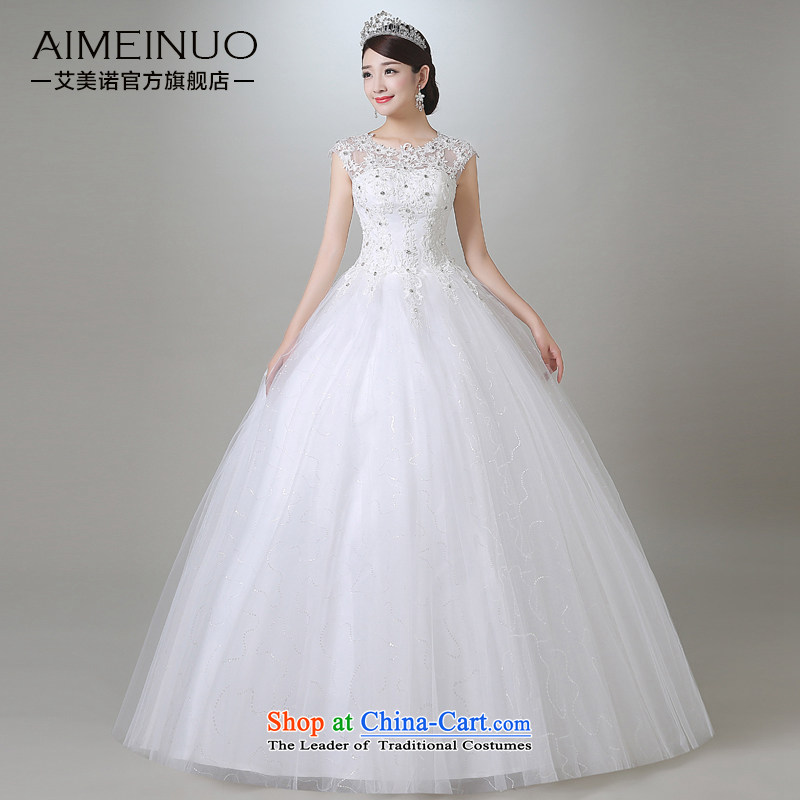 Hiv Miele wedding in summer and autumn 2015 new Korean sweet Tulle lace round-neck collar shoulders wedding irrepressible princess yarn A15CH106 Sau San White?M _?FT?_, two waist