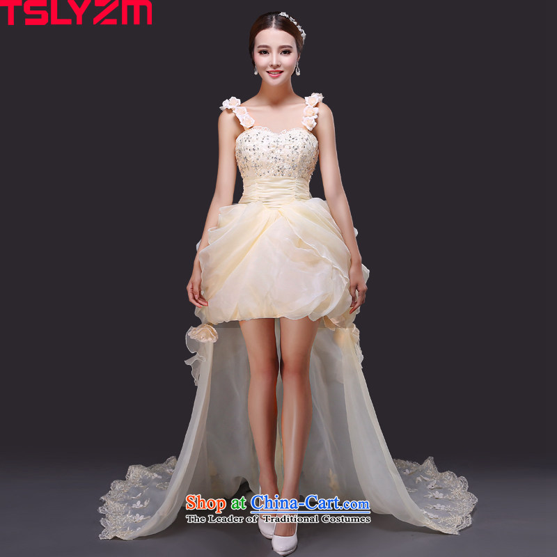 Before long after short tslyzm wedding dress bride strap shoulders small trailing 2015 new autumn and winter Korean Foutune of champagne color wedding light beige?XL
