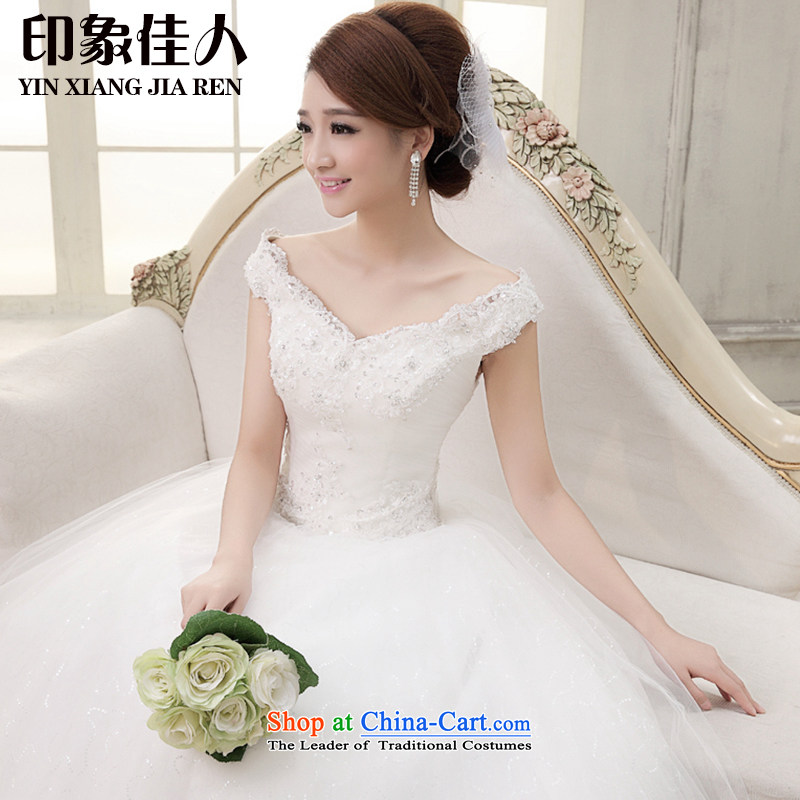 Starring impression wedding dresses 2015 Spring/Summer New Asian layout to align the shoulder bride Word Graphics thin shoulders wedding A0232 White?M to align