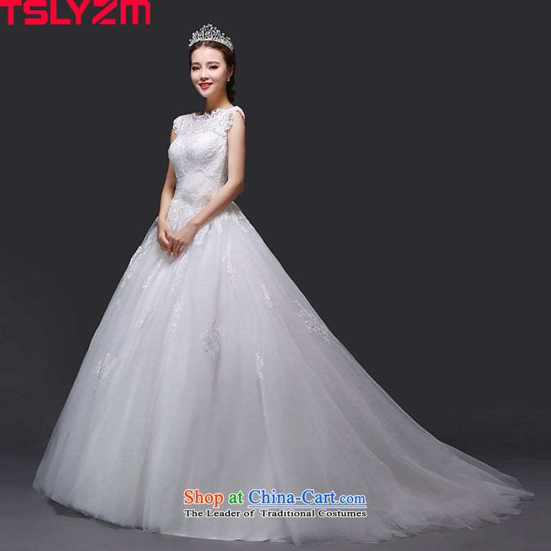 Tslyzm bride wedding Korean white marriage small trailing Sheikh wind palace lace round-neck collar package shoulder video new thin 2015 autumn and winter trailing M