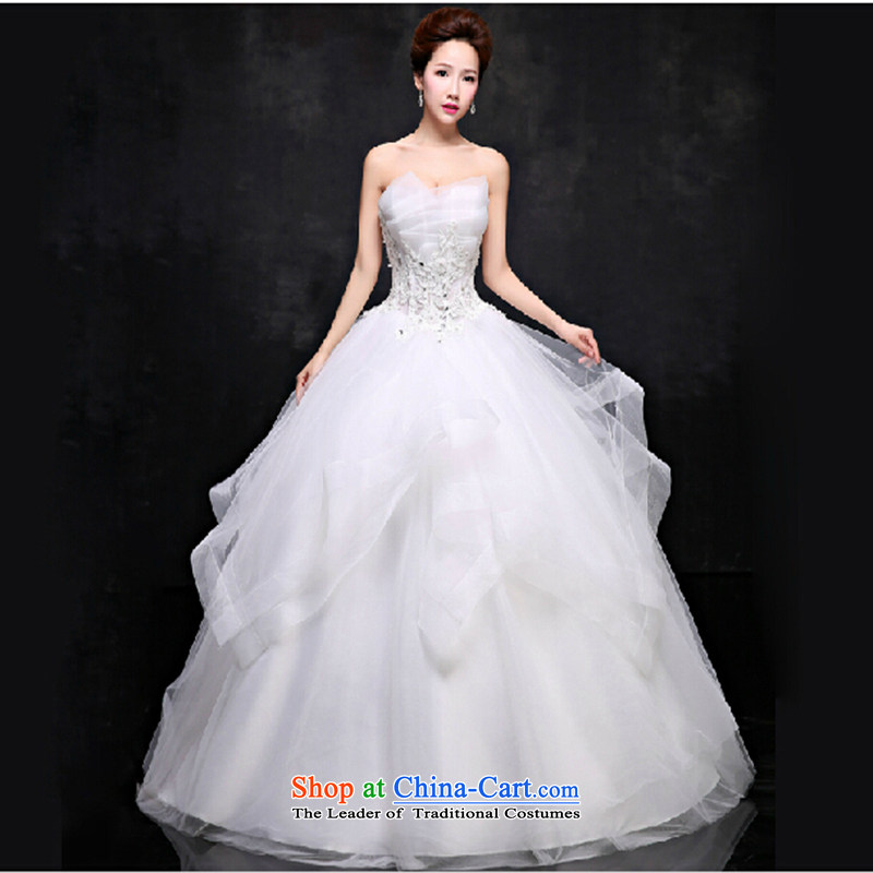 2015 Spring/Summer new wedding dresses and sexy anointed chest Sau San video thin Korea version of large numbers to align the Princess Bride minimalist white?L