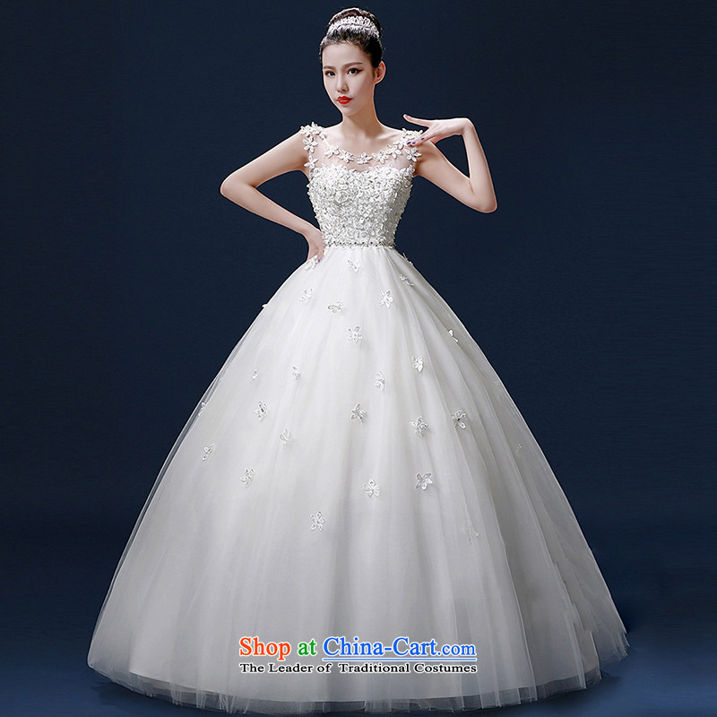 The bride wedding dresses shoulders 2015 new stylish Korean summer sweet to align graphics thin lace retro strap drill white?L
