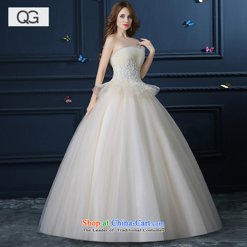 Wedding dress the?summer and fall of 2015 New anointed chest champagne Wedding Theme wedding to align bon bon skirt video thin winter champagne color?L