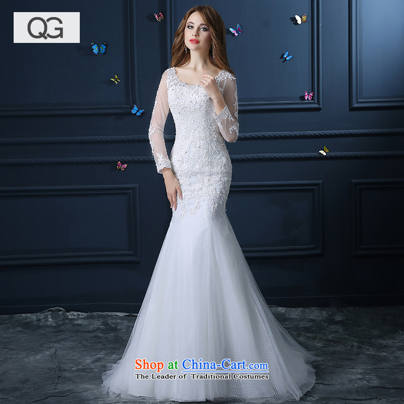 Wedding dress?2015 new summer crowsfoot tail wedding long-sleeved video thin the word   shoulder white?XS