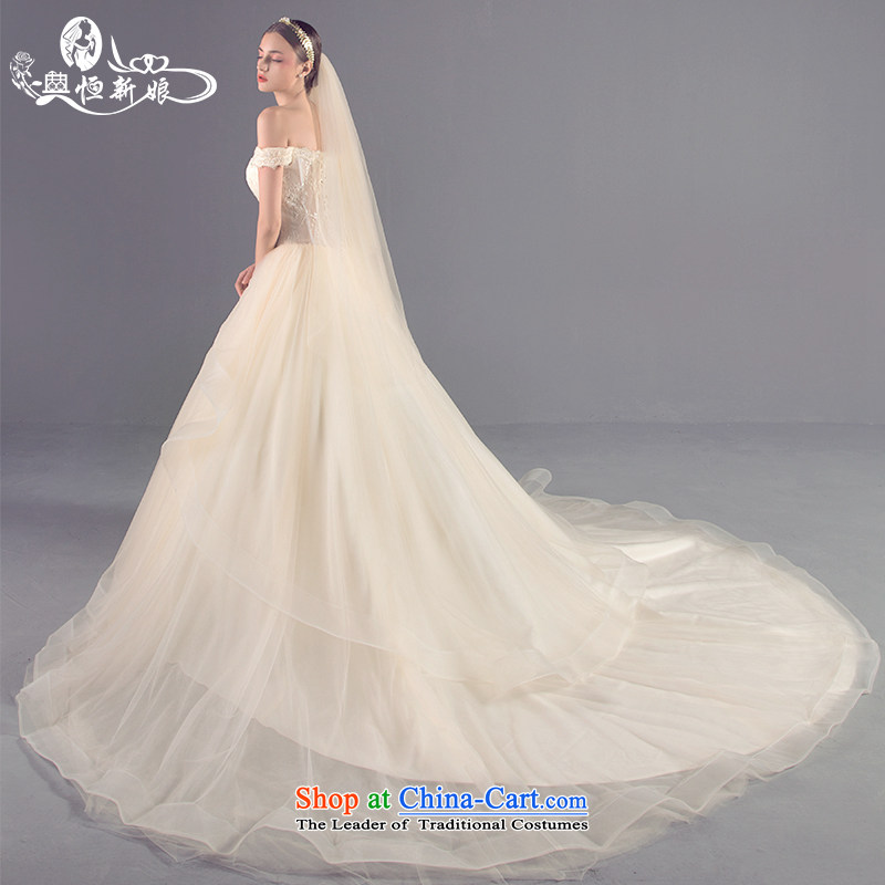 Noritsune bride new 2015 Korean version of large tail fluoroscopy and chest straps wedding word large shoulder wedding Girls High Side Custom_ Marriage dedicated dress champagne color?S