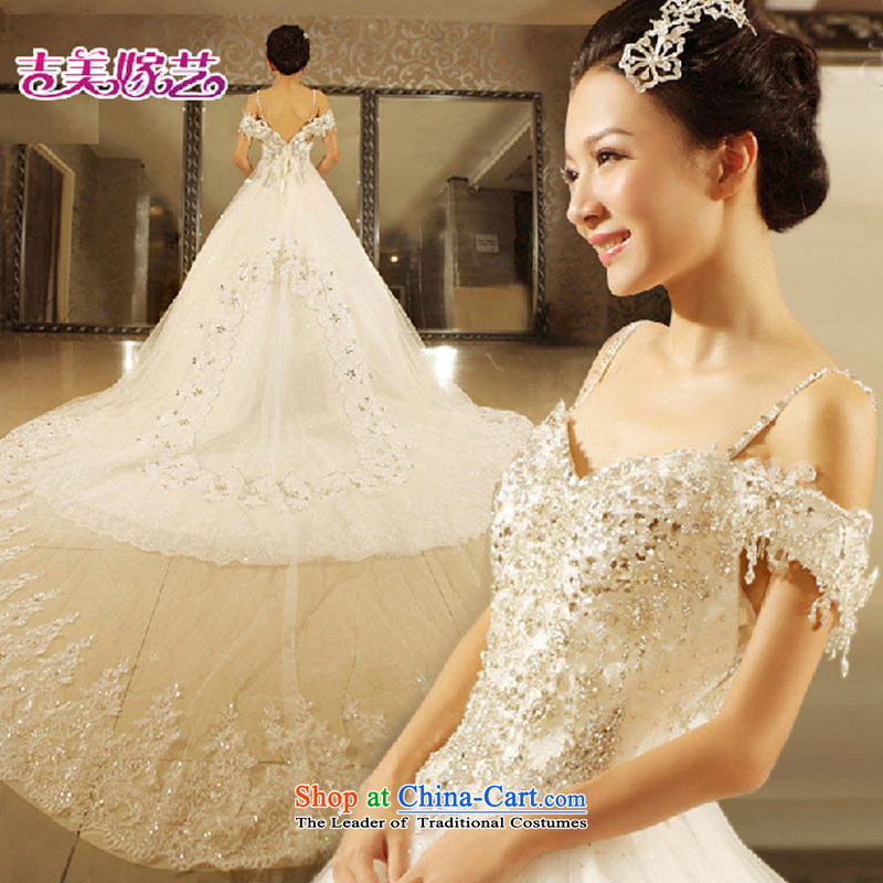 Wedding dress Kyrgyz-american married a NEW 2015 arts fields shoulders princess skirt water drilling tail HT7106 bride wedding White?XL