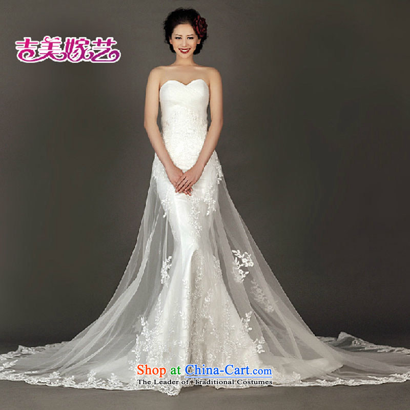 Wedding dress Kyrgyz-american married new anointed arts 2015 Chest Korean lace crowsfoot tail HT934 bride wedding White?XL