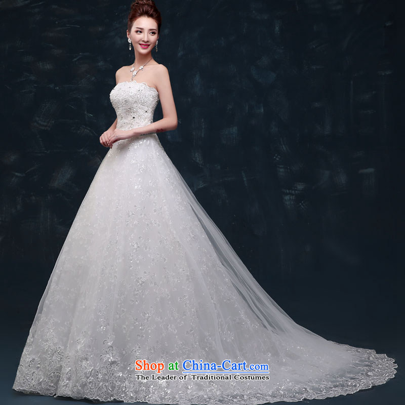 Upscale wedding dresses new spring 2015 Graphics thin Sau San anointed bride chest tail diamond set pearl strap wedding package mail A dragged around 60 cm S