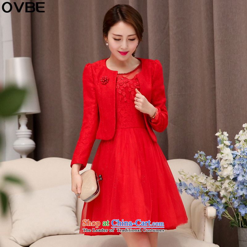 ?The Korean version of the 2015 spring and autumn OVBE load new graphics thin dress Sau San sweet dresses kit skirt temperament lace stylish wedding two kits female red?XXL