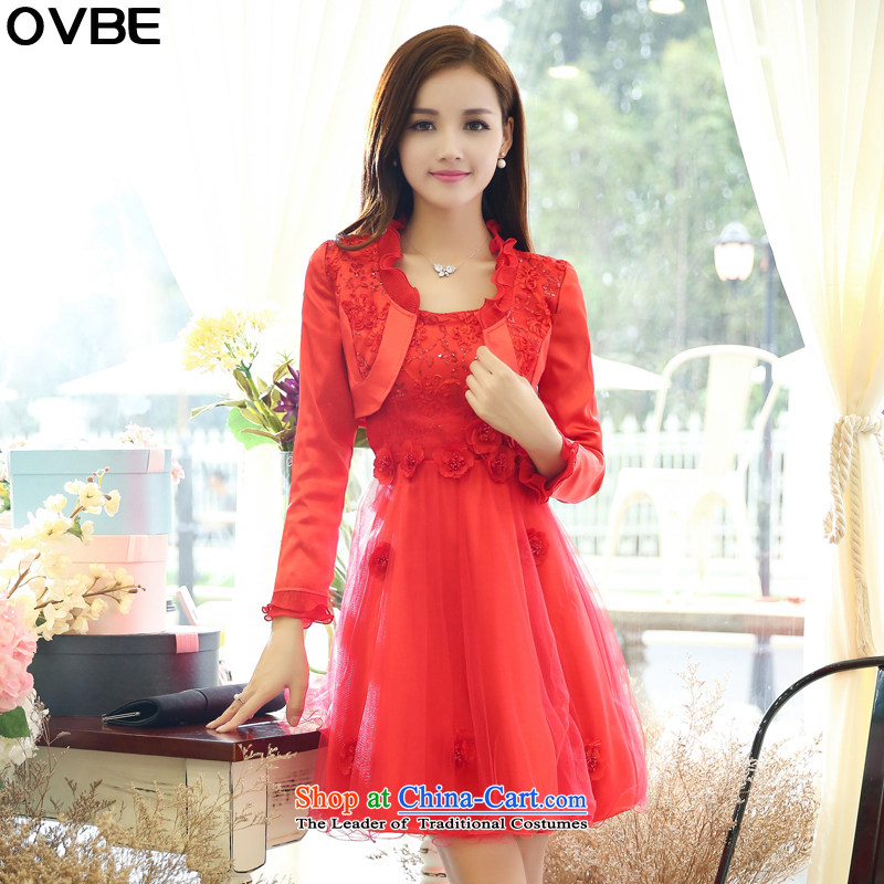 �The Korean version of the 2015 spring and autumn OVBE load new graphics thin the Sau San yarn dresses kit skirt temperament and stylish wedding dress two kits female red�XXXL