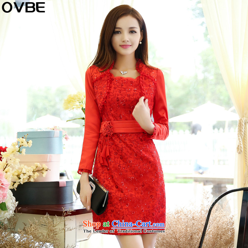 ?The Korean version of the 2015 spring and autumn OVBE Load New Sau San video thin dresses kit skirt temperament and stylish Foutune of evening dresses wedding two kits female red?XXL