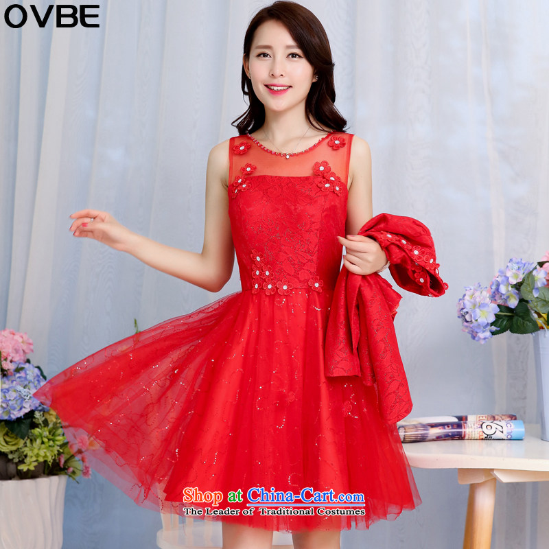 聽The Korean version of the 2015 spring and autumn OVBE Load New Sau San video thin elegant dresses kit skirt temperament lace evening dress wedding two kits female red聽XL