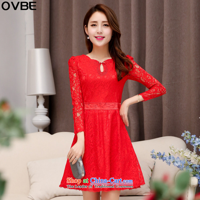 ?The Korean version of the 2015 spring and autumn OVBE load new graphics thin solid-colored Sau San long-sleeved wedding dresses temperament Mock-neck Foutune of lace dresses female RED?M