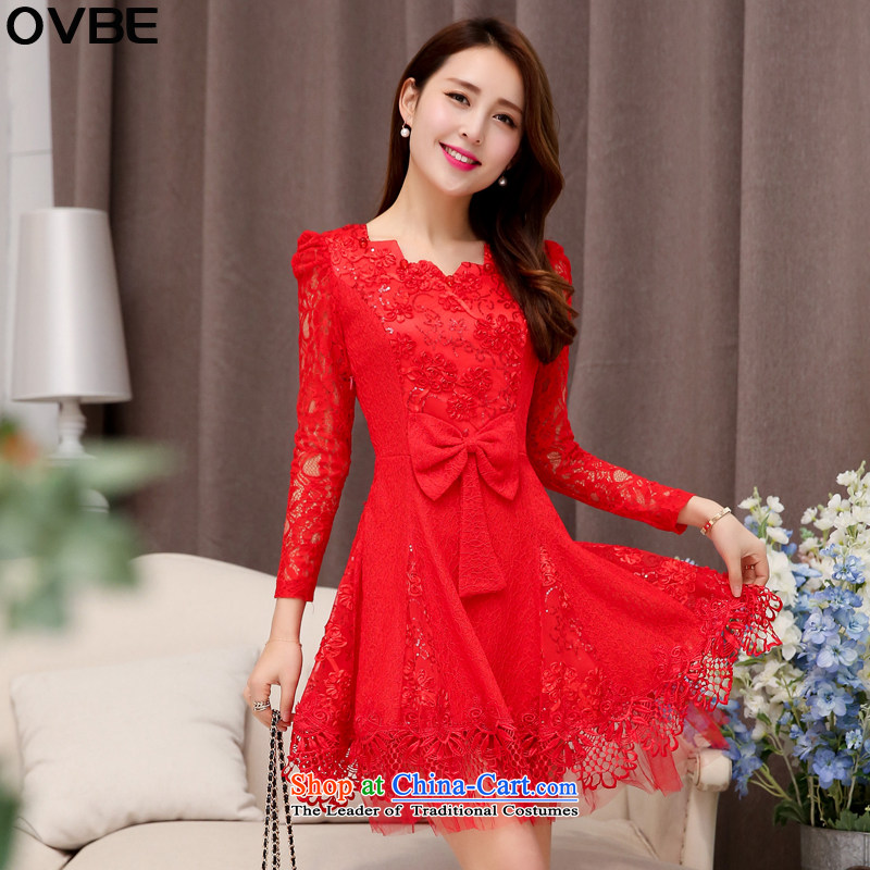 ?The Korean version of the 2015 spring and autumn OVBE Load New Sau San video thin elegant evening dresses wedding temperament ripple for long-sleeved lace dresses female red?XL