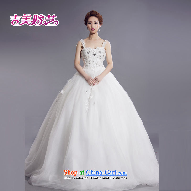 Kyrgyz-US married Korean version of the new arts shoulders flowers bride wedding dresses HS777 bride wedding white L