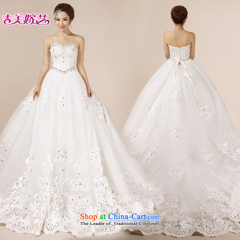 Wedding dress Kyrgyz-american married new anointed arts 2015 Chest Korean Bridal Suite 7188 Trailing White聽XXXL bride Wedding