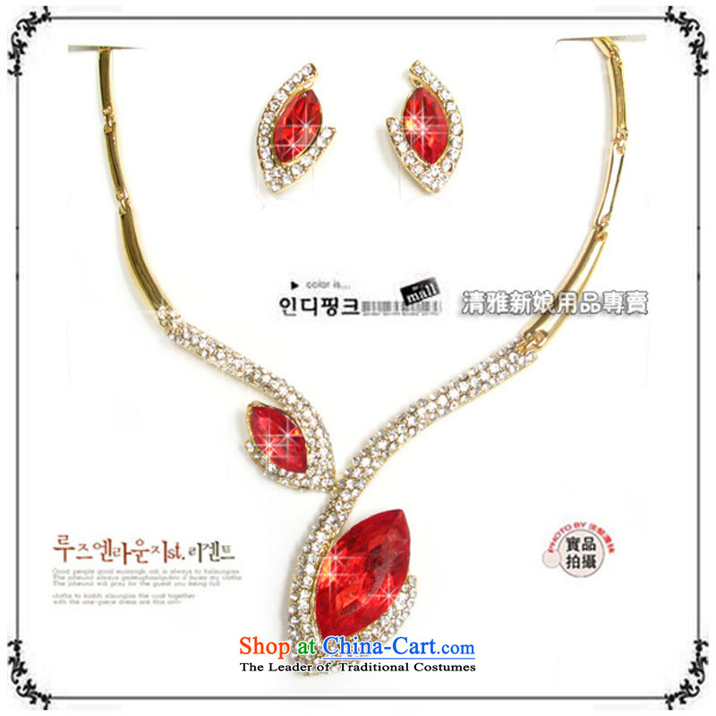 The bride jewelry/Sets link/necklace/parquet red water Drill Sets link TL0210 Bridal Suite Link Green Ear Clip