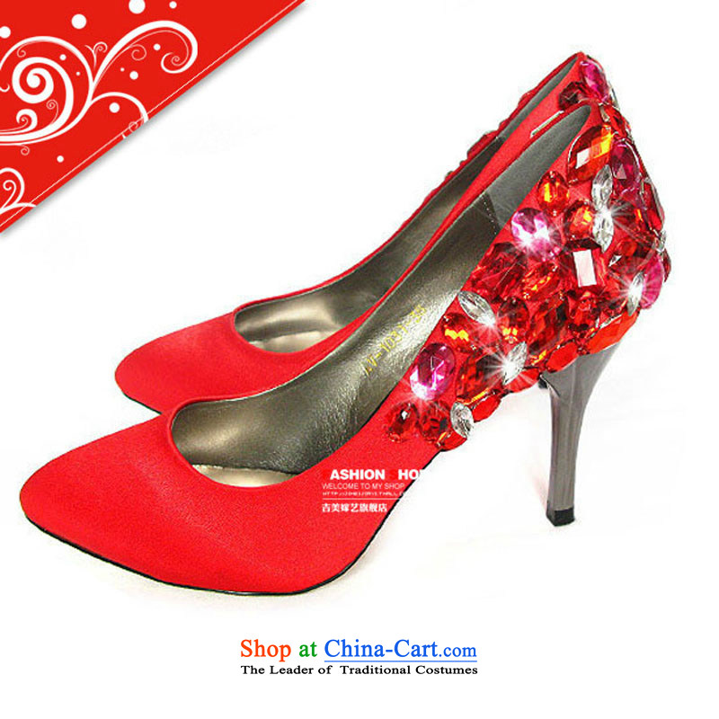 The European royal luxury fittings bride stunning marriage shoes bride shoes dinner will shoe bride shoes Red?37