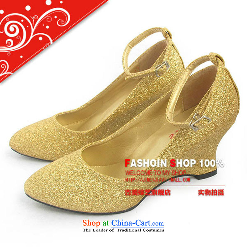 The bride accessories bride marriage shoes_gold shoe_ultra compact flash marriage with gold bride shoes slope 5031 bride shoes Red聽35
