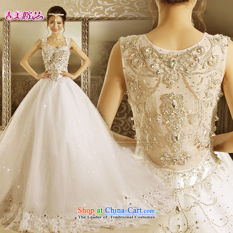 Wedding dress Kyrgyz-american married new Korean arts 2015 edition shoulders princess bon bon skirt tail HT7155 bride wedding 1m tail XL
