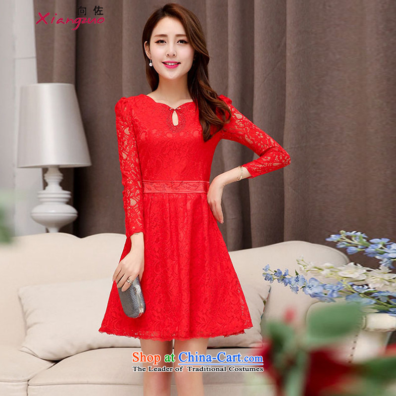 To spring and autumn 2015 new stylish Sau San video thin fine lace dress lace flowers wedding dresses red?L