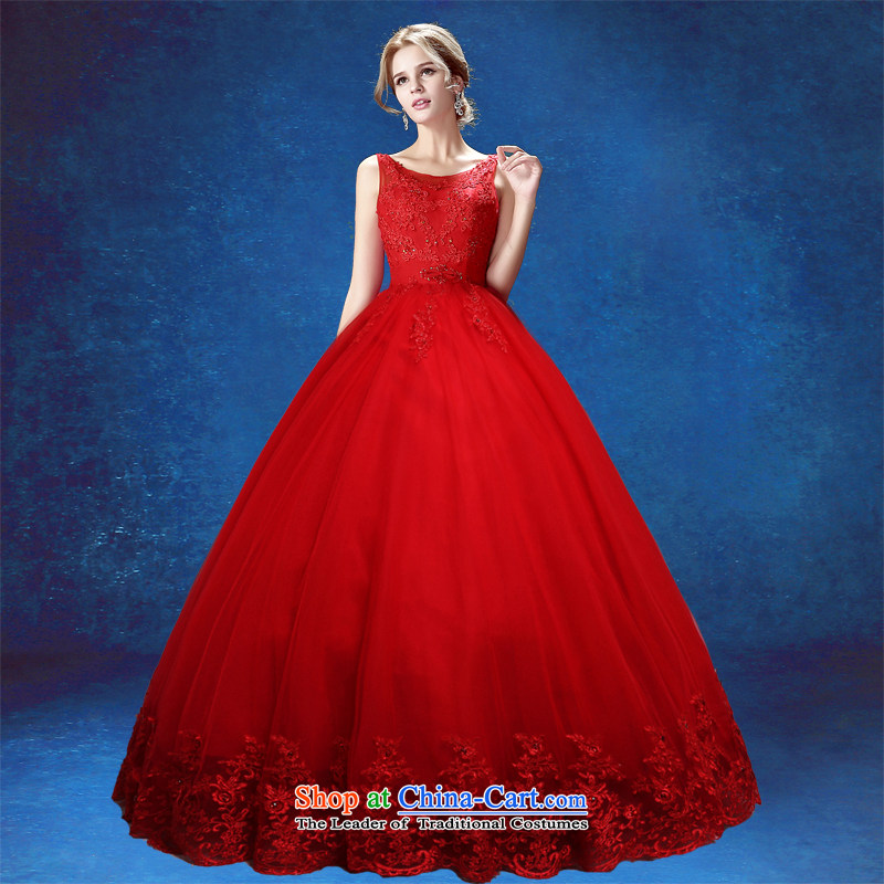 Align the wedding dress in summer 2015 wedding Ms. new Korean brides big red code embroidery shoulders video thin wedding dress red tailored does not allow for seven days of