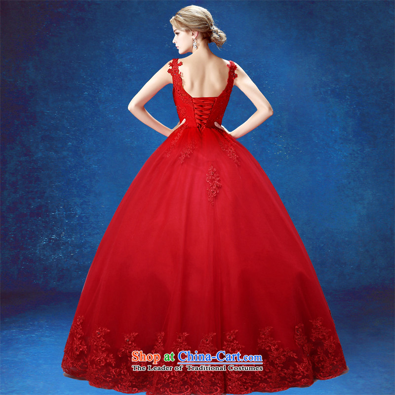 Align the wedding dress in summer 2015 wedding Ms. new Korean brides big red code embroidery shoulders video thin wedding dress red tailored does not allow for seven days, every JIAONI stephanie () , , , shopping on the Internet