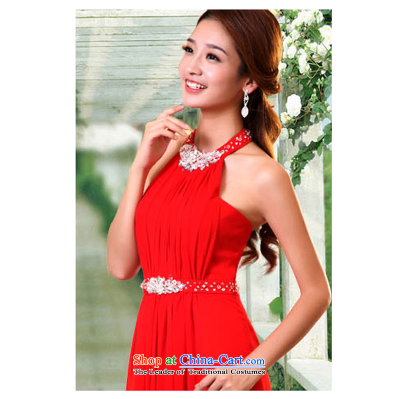 2015 new summer red bride long history and on-chip and Chest Service Korea bows version of large high fashion video thin red dress�XL