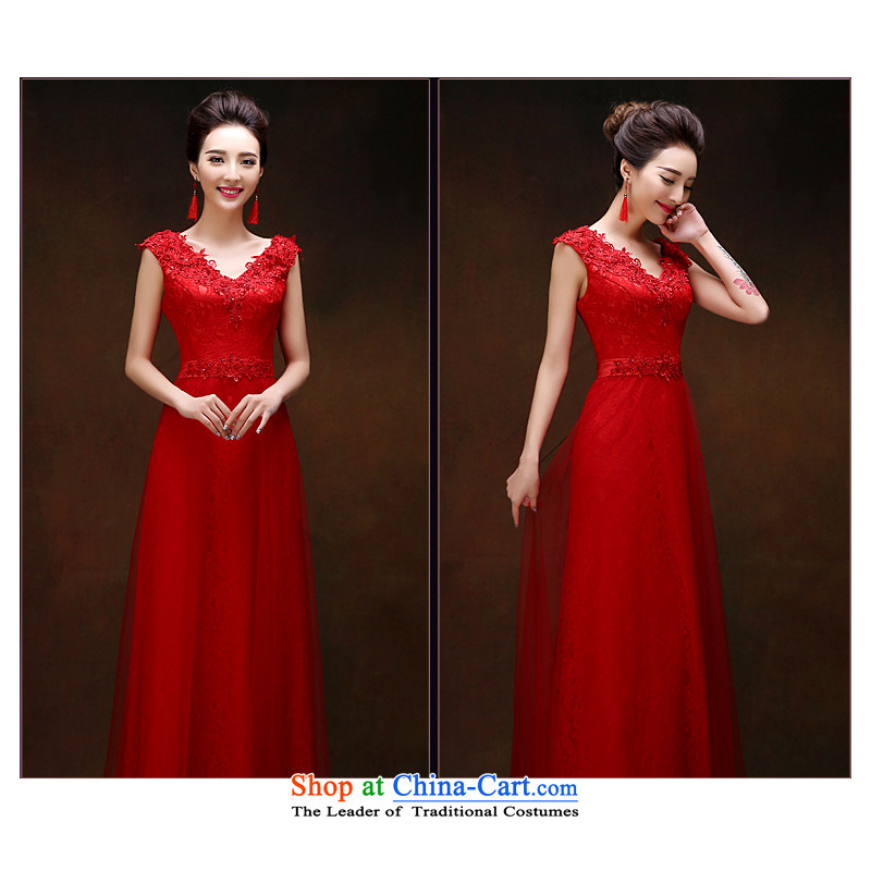 2015 New Service Bridal Fashion red bows Korean version of Sau San marriage wedding dresses Female dress red?XL