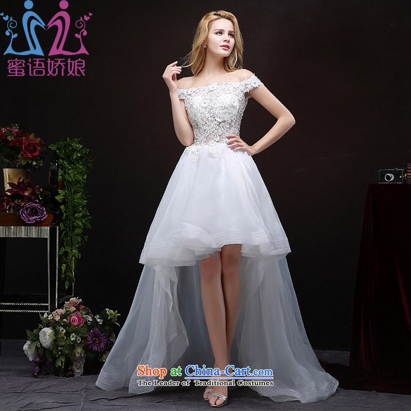 Talk to her wedding dresses, before the new 2015 after long tail short word for the Korean version shoulder thin large wedding lace princess out of White?XXL