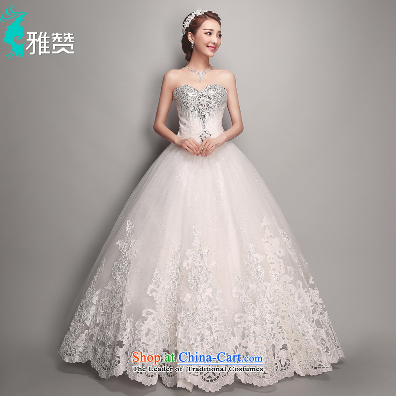 Jacob Chan bride Korean style wedding dresses and chest water drilling new summer 2015 Sau San video thin straps to align the princess bon bon skirt white聽L