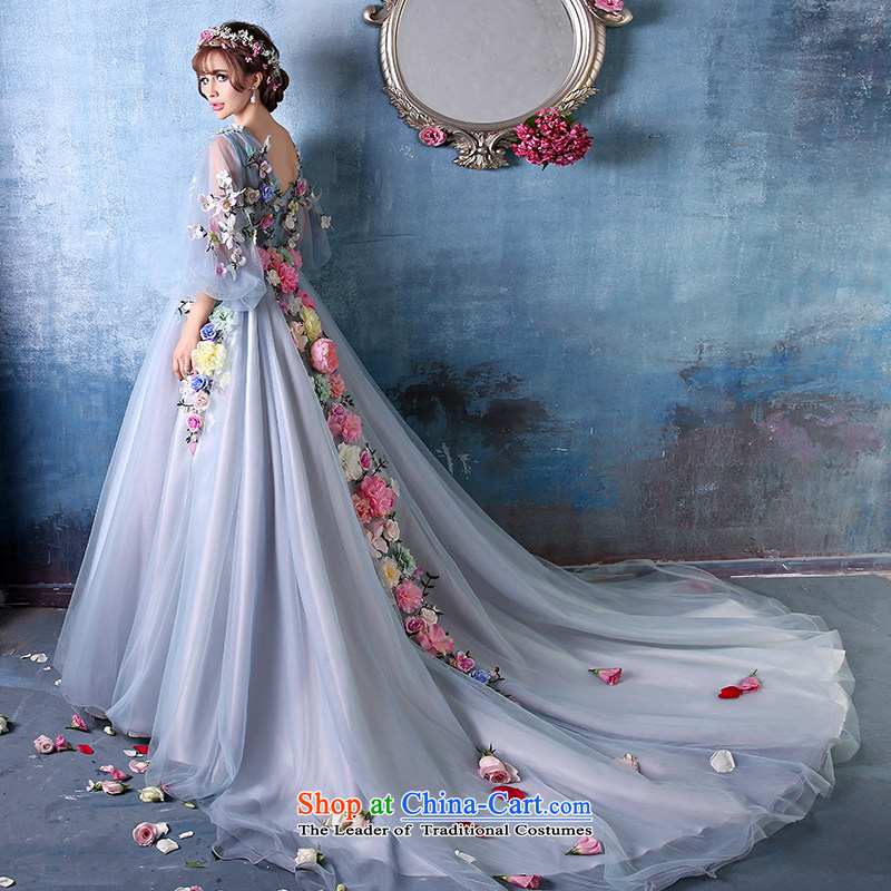 Sin Sin Kai Edge 2015 Summer new stylish photo building shoulders large Flower Fairies  tail dress marriages banquet Fan Bing Bing stars of the same evening dress blue?S